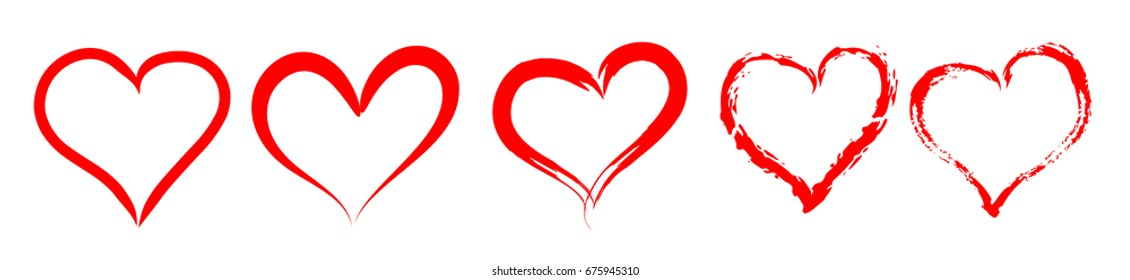 Set of red outlined vector hearts silhouette. Vintage style design for romantic love illustrations.