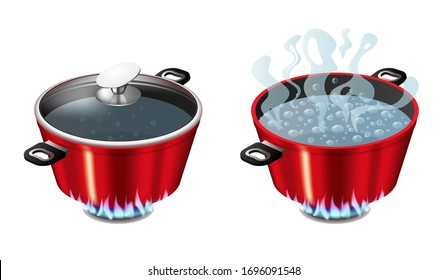 Set of red pans with boiling water, opened and closed pan lid on gas stove, fire and steam, vector illustration