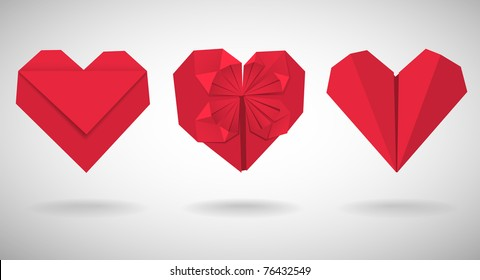 Set of red paper hearts, vector illustration