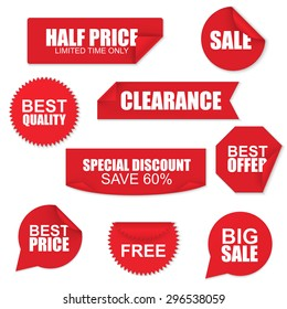 Set of red paper sale stickers on white background. Round, square, rectangular, twisted vector design template.