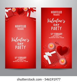 Set of red party flyers for Happy Valentine's Day. Top view on gift box and red case for ring. Beautiful backdrop with candles, confetti and serpentine. Vector illustration. Invitation to nightclub.