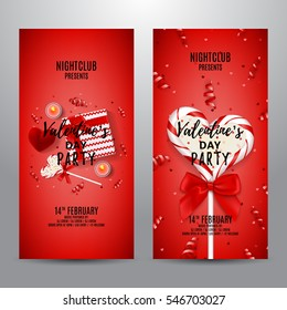 Set of red party flyers for Valentine's Day. Top view on gift box, lollipop and red case for ring. Beautiful backdrop with candles, confetti and serpentine. Vector illustration.