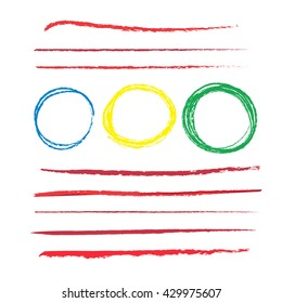 set of red pencil strokes  with colorful grunge circles.