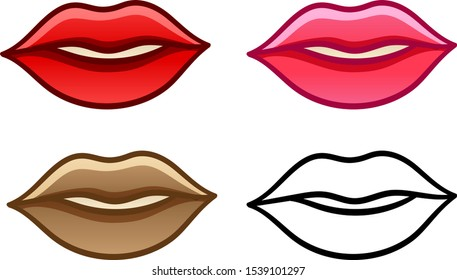 Set of red, pink, brown and lined lips