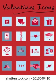 Set of Red and Pink color Valentines day flat icons vector.Valentine day concept illustration.EPS 10.