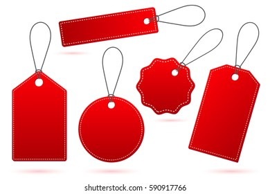 Set of Red price tags with shadow on white
