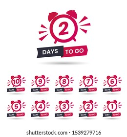 Set of red promo offer. Sale banner with countdown clock and text - 1 2 3 4 5 6 7 8 9 10 days to go. Sale tag with days to go words. Flat vector illustration