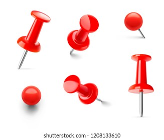 Set of red push pins in different angles. Vector illustration. EPS10.