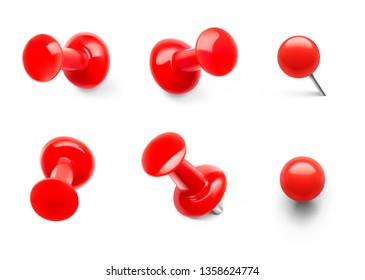 Set of red push pins. Different view. Thumbtacks ready for your design. Vector illustration isolated on white background. EPS10.