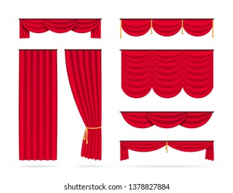 Set of red realistic curtains. Vector illustration isolated on white background