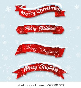 Set red realistic curved ribbon Merry Christmas banner isolated on snow background. Vector illustration.