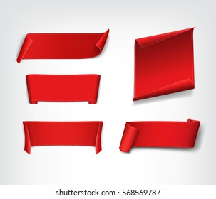 Set of red, realistic, paper banners. Vector illustration.