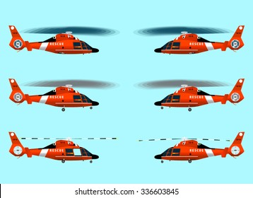 Set red rescue helicopters. Flying in the sky. Standing on the ground. With the landing gear retracted and released. Isolated objects. Coast security. Vector graphics