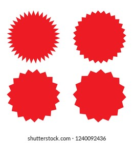 Set of red retro blank starburst, sunburst badges. Vector illustration.