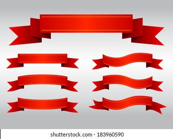 Set of red ribbon banners, Vector graphic