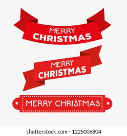 set red ribbon decoration to merry christmas