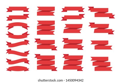 Set of red ribbons banners on white background. Flat templates and design elements for web banners and ribbons.
