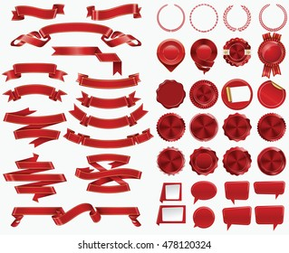 Set of Red Ribbons and Certificate Seals and Badges