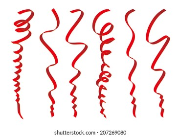 Set of red ribbons design