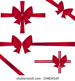 Set of red ribbons for gifts on white background. Vector illustration