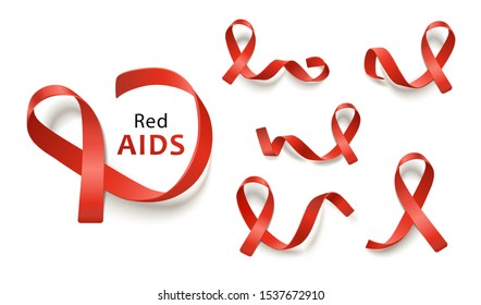 Set of red ribbons for leukemia and aids awareness charities, collection of different realistic icons for important cause - vector illustration isolated on white background.