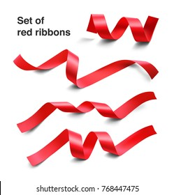 Set of red ribbons on white background. Vector illustration. Ready for your design. Can be use for template your design, promo, adv.