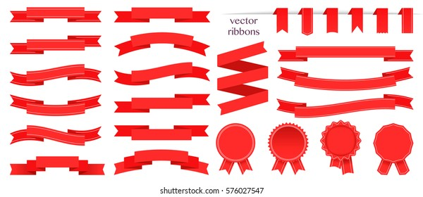 Set of red ribbons and round sticker. Paper scrolls. Red ribbon vector icon on white background. Sticker and decoration for app and web. Label, badge and borders collection.