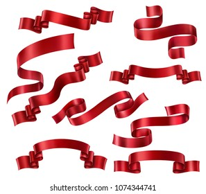 Set of Red ribbons, vector collection of banners, EPS 10 contains transparency