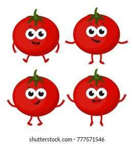 set of red ripe funny tomatoes isolated on background, group of whole cute tomatoes fruit