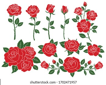 Set of red roses. Collection of stylized blooming garden flowers, petal and bud with a green stem and leaves for a romantic floral decoration, a wedding bouquet and Valentine. Tattoo.