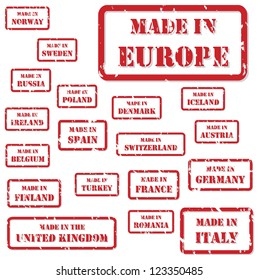 Set of red rubber stamps of Made In symbols for Europe and surrounds, including Italy, France, Russia, UK, Germany, Austria, Ireland, Romania