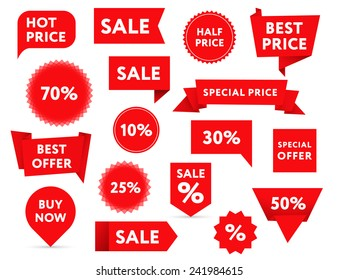 Set of red sale banners in different shapes.
