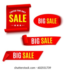 Set of red sale banners. Ribbons and sticker. Paper scrolls. Vector illustration.