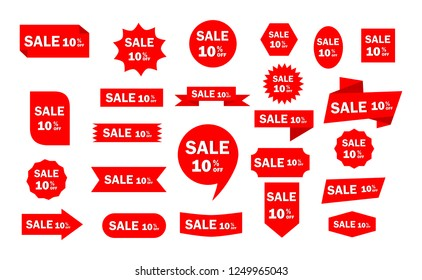 Set of red sale icon banners in different shapes. shop product tags. 10% off discount sticker vector.