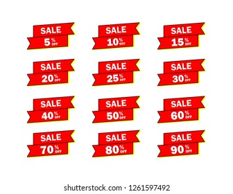 Set of red sale icon banners in different shapes. shop product tags. 5% 10% 15% 20% 25% 30% 40% 50% 60% 70% 80% 90% off discount sticker vector.