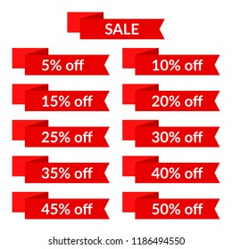 Set of red sale ribbons with different discount values. Sale label template. Vector illustration