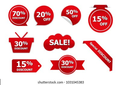 Set of red sale stickers. red sale banners, labels, tags, vector eps10 illustration