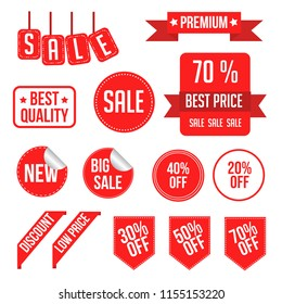 Set of red sale tags and labels. Sale stickers with text mega sale, best quality, 50% off. Vector illustration.