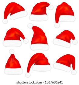 Set of red santa claus hats with fur isolated on white background. Vector illustration
