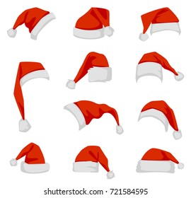 Set of red Santa Claus hats. Red New Year's headdress in a flat style isolated on a white background.