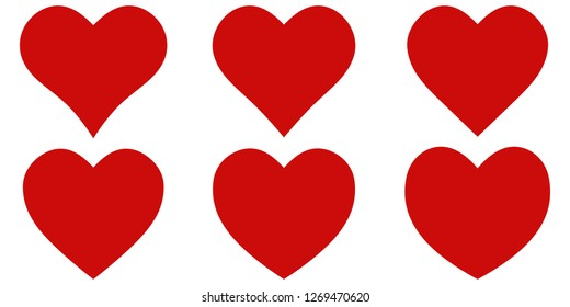 Set red shape heart icon, vector set heart shape, for lovers on Valentines day