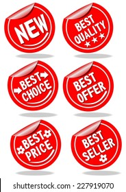 A set of red shopping advertising labels quality, offer, choice, price, seller, new
