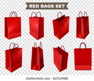 Set of red shopping bags from plastic or paper with handles on transparent background isolated vector illustration