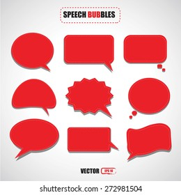 set of red speech bubbles vector
