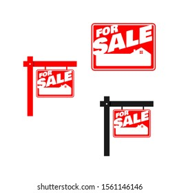 set of red square for sale sign house vector logo illustrations EPS 10