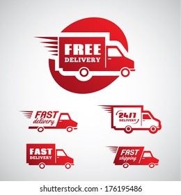 Set of red stickers for delivery and shipping in vector