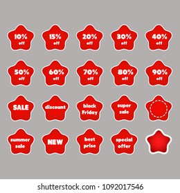 A set of red stickers with discounts from 10% to 90% and a collection of standard phrases for markdowns and sales