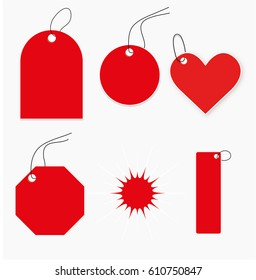 set of red tags for design