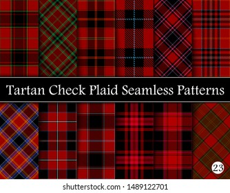 Set Red Tartan Plaid Scottish Seamless Pattern. Texture from tartan, plaid, tablecloths, shirts, clothes, dresses, bedding, blankets and other textile. Vol 23