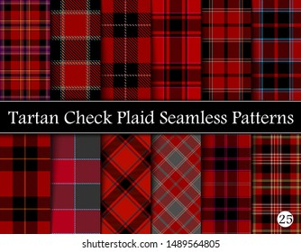 Set Red Tartan Plaid Scottish Seamless Pattern. Texture from tartan, plaid, tablecloths, shirts, clothes, dresses, bedding, blankets and other textile. Vol 25